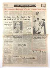 Vintage November 4 1977 Toronto Star Front Page Newspaper Trudeau Vows K699