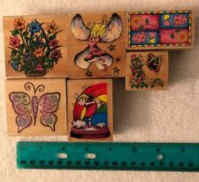 Lot Of 6 Wood Runber Stamps Flowers & FairiesUsed Crafting Scrapbooking Lot-06
