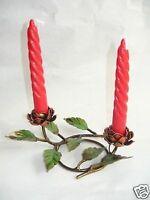 Candelabro portacandele basso in ferro battuto con rose