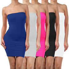 Elastic Tube Mini Dress Strapless Stretch Tight Body-con Seamless One Size XC