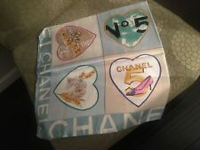 Auth. Chanel, teal blue  and multicolor hearts scarf  34 x 34
