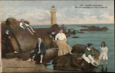 Saint Nazaire France Rochers & Phare Lighthouse Ville es Martin Postcard c1915
