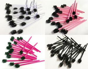 Eyelash Extension Disposable Mascara Wands w/ Round Heads - Magenta, Pink, White
