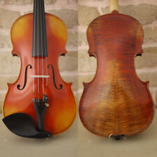 New Highly Flamed Stradivarius Violin 4/4 handmade Antiqued Style Varnish #433