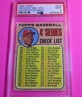 1968 TOPPS #278 Checklist Orlando Cepeda HOF SP Copyright at Right PSA 9 MINT
