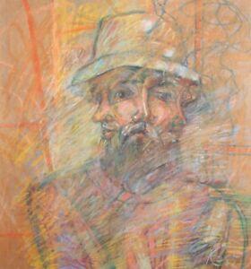 1985 Surrealist portrait pastel painting signed