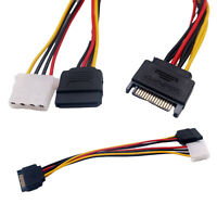 10x 15 Pin SATA Male to Female/ 4 Pin IDE Female Y Splitter Power Adapter Cable