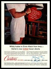 1960 Carter's Knit Boxers Man In Underwear Valentine's Day Heart Gift Print Ad