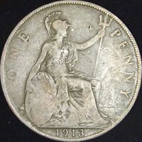 1913 VG Great Britain Penny - KM# 810