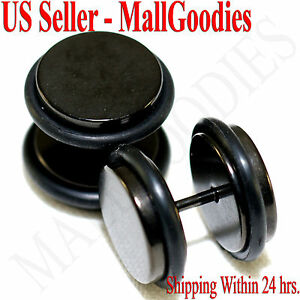 """2090 Black Fake Cheaters Illusion Faux Plugs 16G Surgical Steel 1/2"""" 12mm Large"""