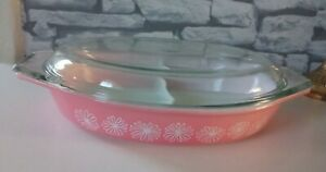 Vintage JAJ Pyrex Gaiety Pink Daisy Divided Vegetable Dish With Lid