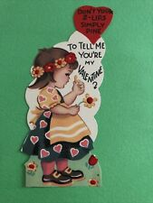 Vtg Valentine Card Die Cut Alpine Girl Flowers Apron 2 Lips Pine 1950s Used
