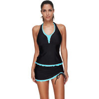 US Women Swimsuit 2 Piece Tankini Halter Backless Swimwear Push Up Padded Bikini
