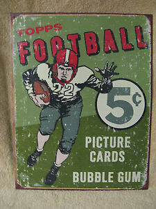 Topps Playing Football Cards Vintage Look New Tin Metal Sign
