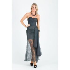 BARIANO - Sheer Lace Strapless Maxi (BWD28 - Charcoal)