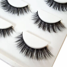 3D Make Up Natural Soft Handmade Thick Long Cross False Fake Eyelashes 3 Pairs