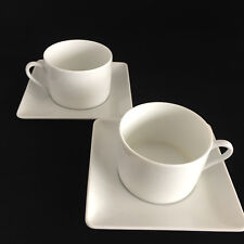 Zen by Apilco White Porcelaine Set of 2 Cups / Saucers Made in France & Apilco White Porcelain Dinnerware | eBay