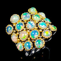 Spraking Unique Natural Opal 925 Sterling Silver Ring Size 8.5/R122414