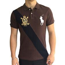 Ralph Lauren Herren Polo Shirt Hemd Big Pony mit Wappen - Gr. M Braun NEU & OVP