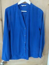 Royal blue blouse with V-neck & long sleeves, Zoa NewYork approx size UK 14 USED