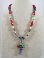 Sterling Silver Multi-Gemstone Cross Pendant Gemstone Bead Toggle Close Necklace