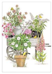 Flour Sack Kitchen Dish Towel Pink Flowers Wheelbarrow Mary Lake - Thompson New