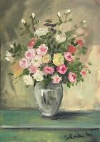 Print of Original oil painting art flowers floral pink yellow roses shabby chic