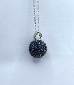 14k White Gold Sapphire And Diamond Pave Sphere Pendant Necklace 18 Inches