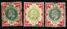 1902-11 3 Great Britain Stamps #138, 1sh carmine & shades of green, Used, H, Hr