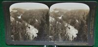 Antique Stereograph Card - Yellowstone River and Upper Falls, H.C. White c.1905