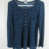 Splendid Long Sleeve Knit Top Womens Medium M Blue Stripes Henley