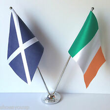 Scotland & Ireland Tri Colours Flags Chrome and Satin Table Desk Flag Set