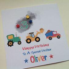 PERSONALISED Handmade BIRTHDAY CARD Son Grandson Nephew 1 2 3 4 TRACTOR DIGGER