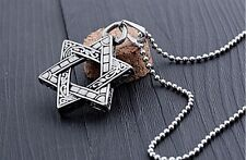 "Mens Stainless Steel Star Of David Pendant 24"" Necklace Chain + Box #N37"