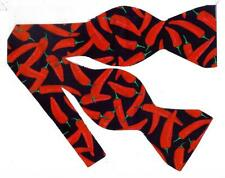Hot Peppers Bow tie / Spicy Red Chili Peppers on Black / Self-tie Bow tie