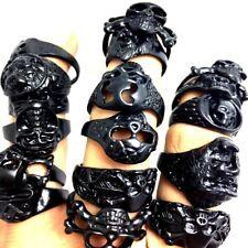 wholesale 50 Mix Skull Black alloy Punk biker  fashion ring jewelry rings