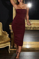 Womens OH POLLY KEEP IT SIMPLE RUCHED MIDAXI DRESS IN DARK RED UK 10 RRP £42