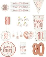 ROSE GOLD AGE 80 HAPPY BIRTHDAY PARTY TABLEWARE DECORATIONS HOLOGRAPHIC UNIQUE