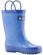 Oakiwear Kids Rubber Rain Boots Sz 12T Easy-On Handles Cobalt Blue NEW w/ TAGS