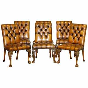 FULLY RESTORED SUITE OF NEW LEATHER CHESTERFIELD DINING CHAIRS CLAW & BALL FEET