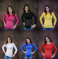Figurbetonte 3/4 Arm Damenblusen, - Shirts aus Polyester