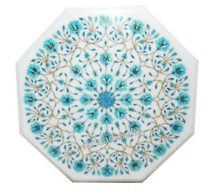 Marble Coffee Table Top Inlay Side Table with Turquoise Stone Floral Art 14 Inch
