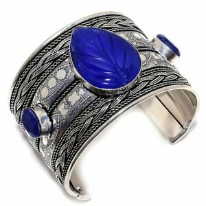 Carved Blue Sapphire 925 Sterling Silver Jewelry Bangle Adst