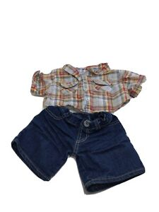 Striped Plaid Shirt Jeans shorts Boy Teddy Build a Bear Clothing