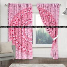Indian pink cotton curtain elephant mandala window home valances hanging drapes