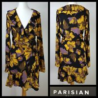 Asos Parisian Black Mustard Lilac Bold Floral Print Faux Wrap Dress Size 10 Tall