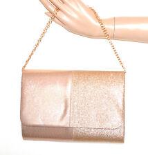 BOLSO CLUTCH bag mujer oro rosa glitter elegante cadena dorada torba sac G24