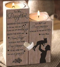 To Daughter From Mom Pair Candle Holder For Birthday Graduation Wedding Gift