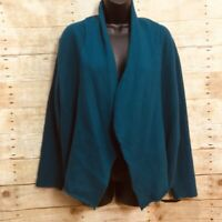 Chicos Size 3 (16) Open Front Cardigan Sweater Jacket Teal Blue Felted Wool