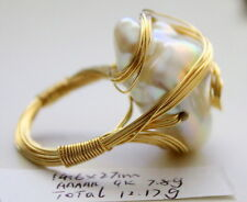 HANDMADE IN AUSTRALIA 9K SOLID GOLD AAAAA 27MM JAPANESE KASUMI PEARL RING